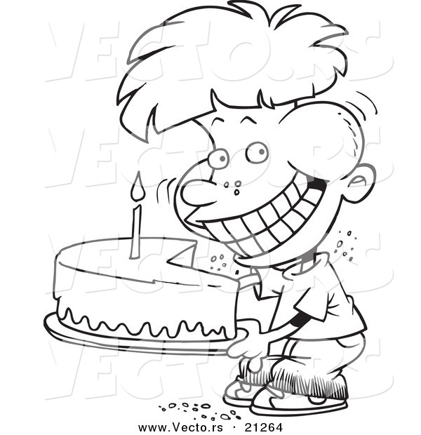 Vector of a Cartoon Birthday Boy Eating an Entire Cake