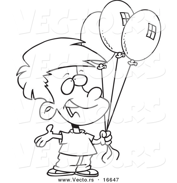 Vector Of A Cartoon Birthday Boy Holding Three Balloons Outlined Girl Balloon Animal Coloring Page And