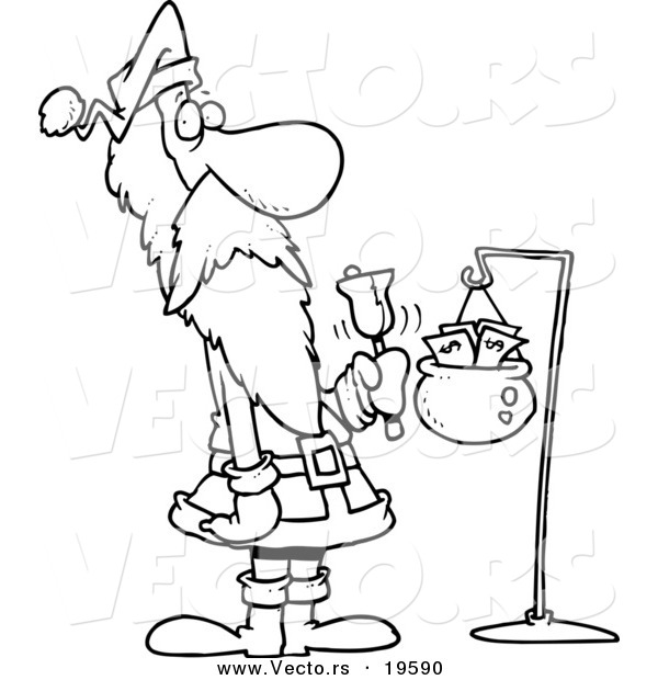 Vector of a Cartoon Black and White Outline Design of Santa
