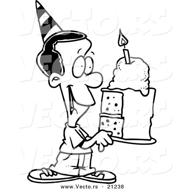 Vector of a Cartoon Black Birthday Boy Holding a Slice of Cake