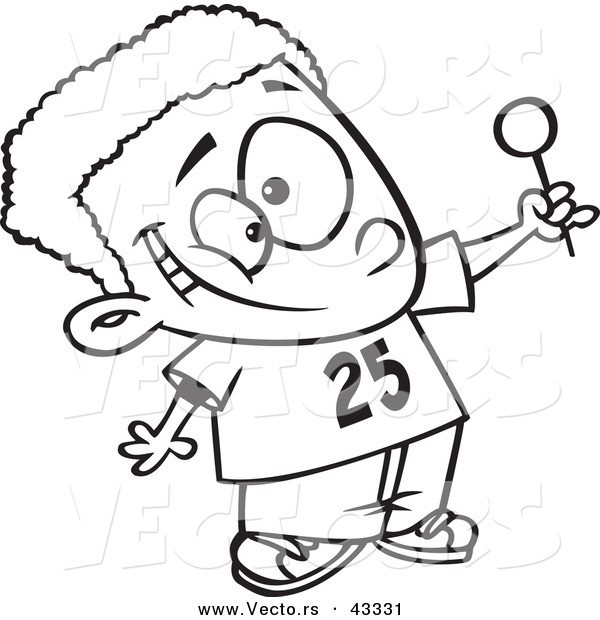 vector of a cartoon black boy holding out a lollipop coloring
