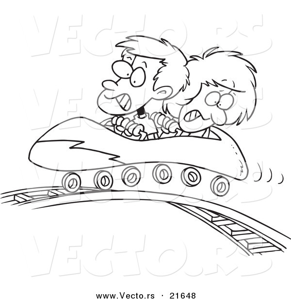 Vector of a Cartoon Boy and Girl on a Roller Coaster - Outlined Coloring Page