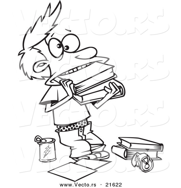 Vector Of A Cartoon Boy Cramming Books In His Mouth
