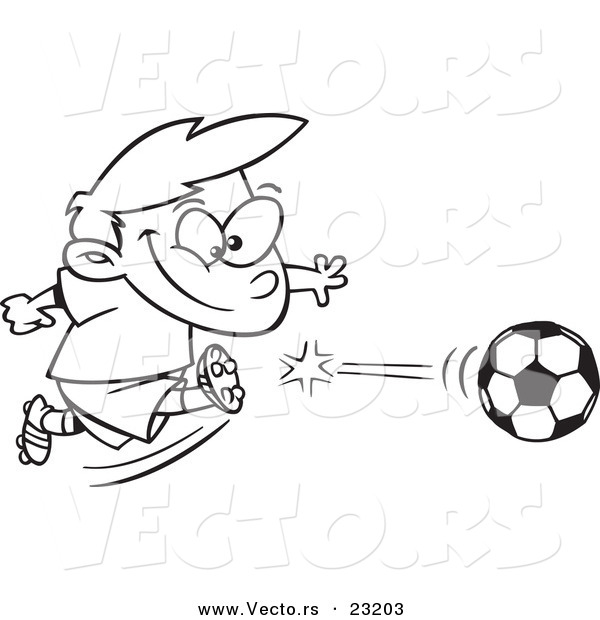 Vector of a Cartoon Boy Kicking a Soccer Ball - Coloring Page ...