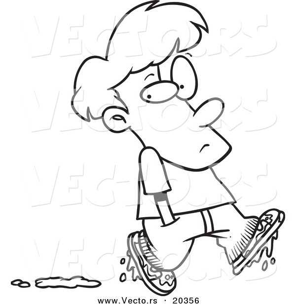 Vector of a Cartoon Boy Leaving Muddy Footprints Coloring Page