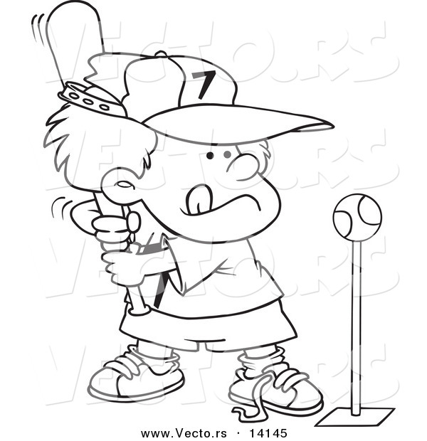 Vector Of A Cartoon Boy Playing Tee Ball