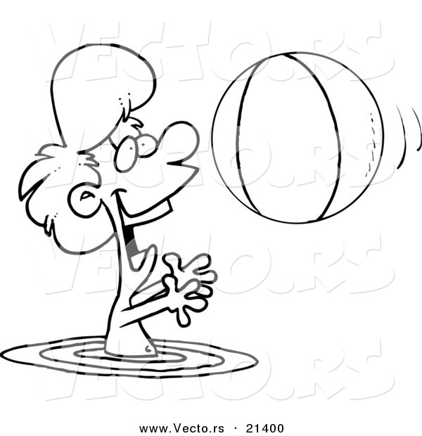 Vector of a Cartoon Boy Playing with a Beach Ball in the Water Outlined Coloring Page by Ron