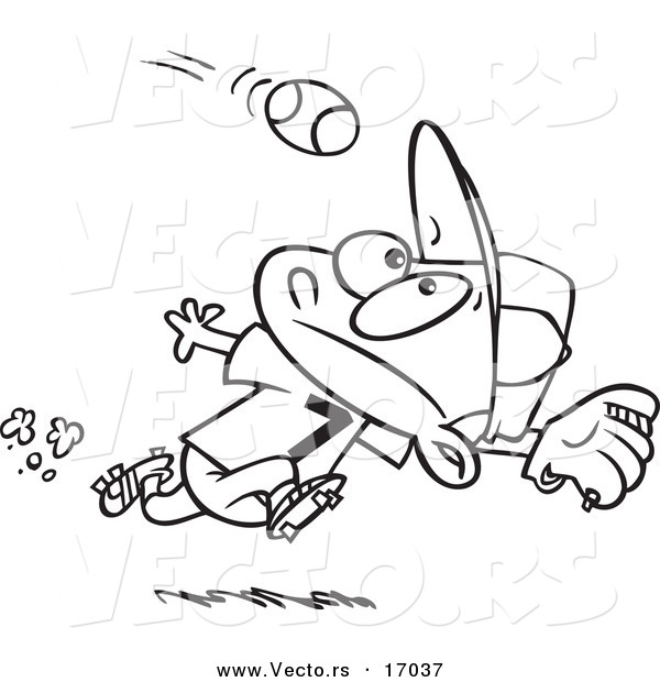 Vector Of A Cartoon Boy Running To Catch Baseball
