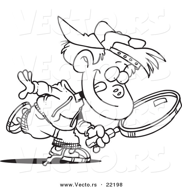 Vector Of A Cartoon Boy Seeking With Magnifying Glass