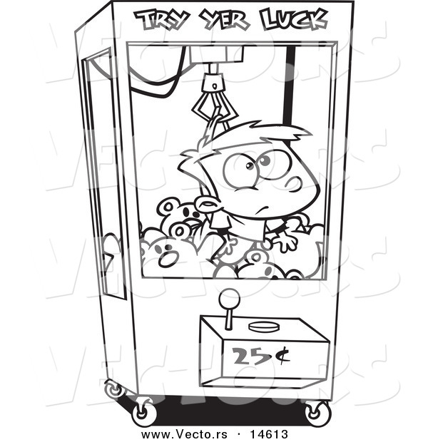 vector of a cartoon boy stuck in a toy machine coloring page outline
