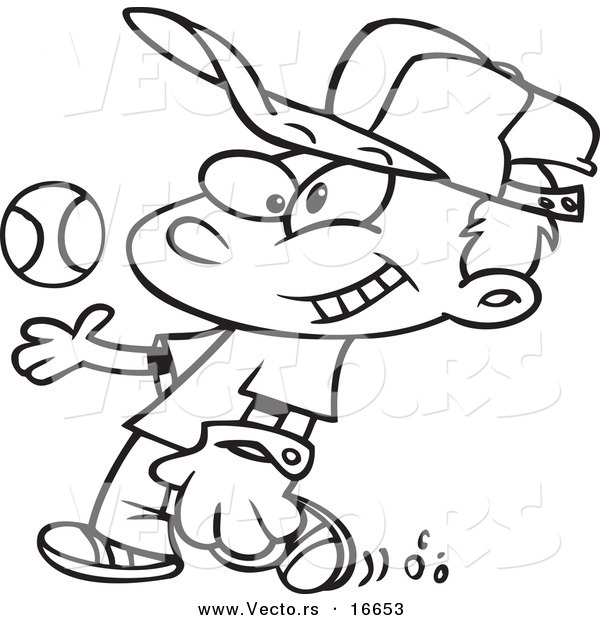 vector of a cartoon boy tossing and catching a baseball outlined coloring page drawing - Cartoon Kid Drawing