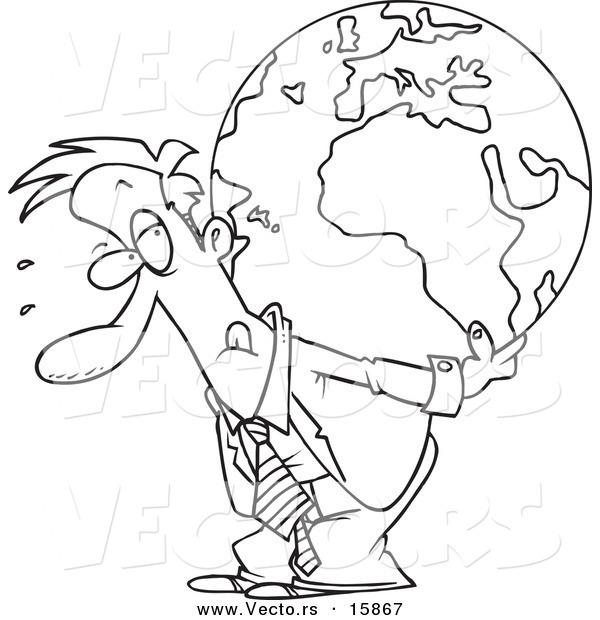 Vector Of A Cartoon Businessman Carrying Burden Globe On