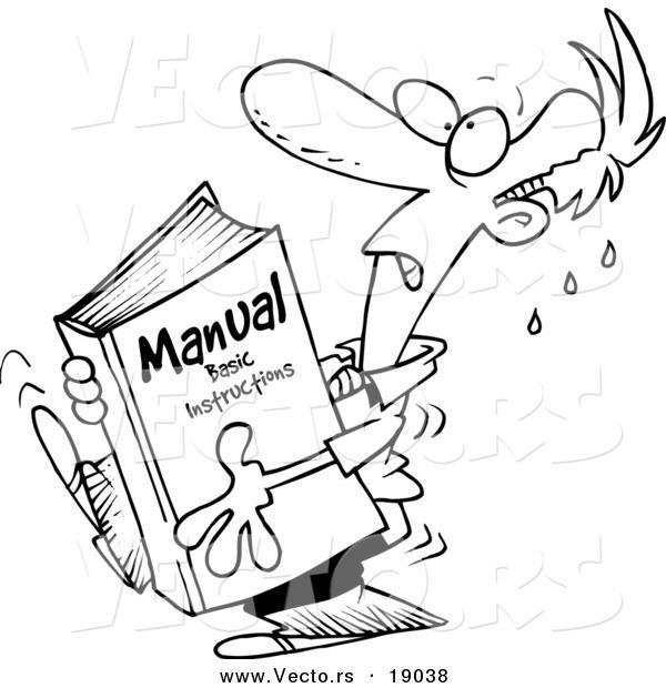 vector of a cartoon businessman carrying a heavy manual