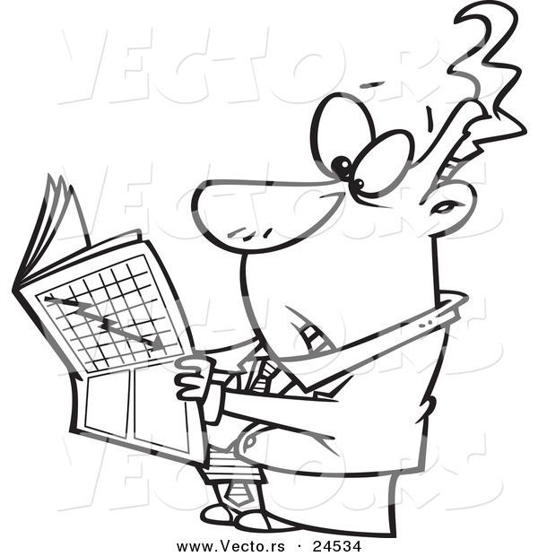 Vector of a Cartoon Businessman Reading the Stock Market News ...