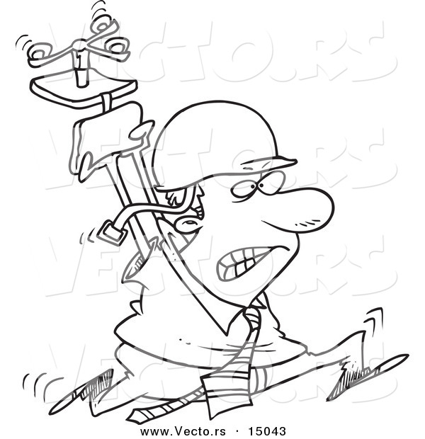 Vector of a Cartoon Businessman Running Through the Office with ...