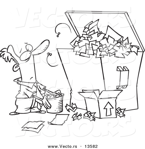 Vector of a Cartoon Businessman Tossing More Waste into a Full ...