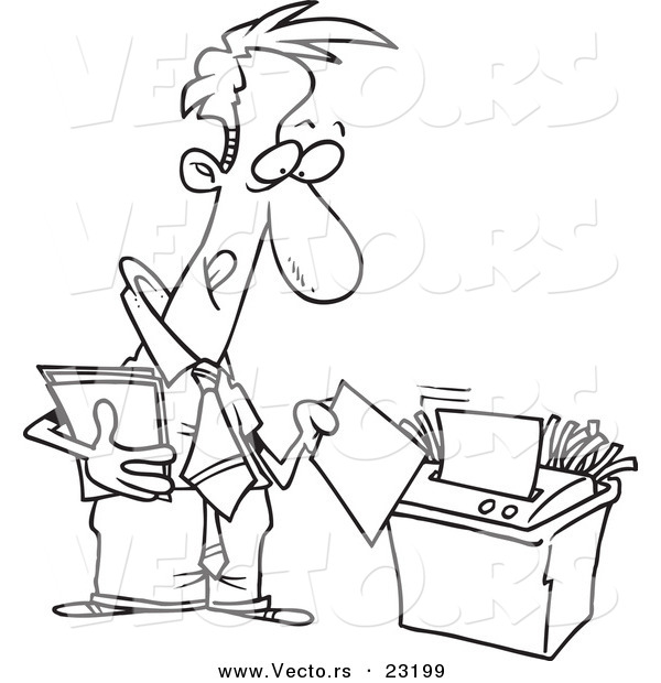 Vector of a Cartoon Businessman Using a Shredder - Coloring Page Outline