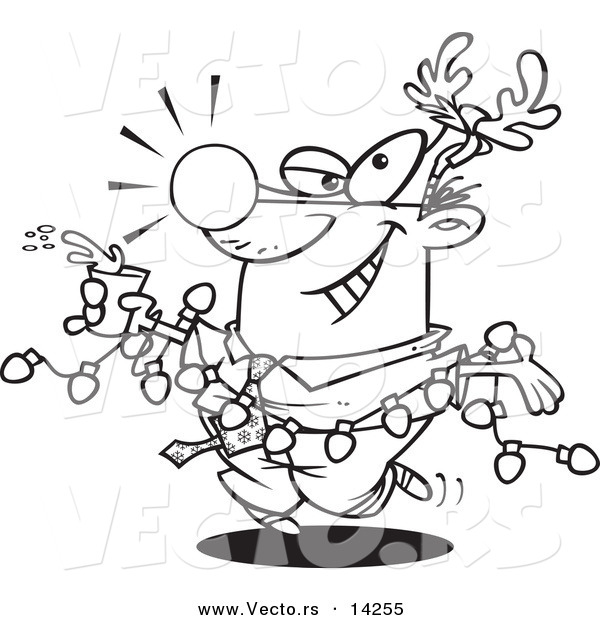 vector of a cartoon businessman wearing antlers and holding a drink while draped in christmas lights