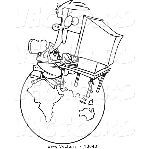 Vector of a Cartoon Businessman Working on a Computer over a Globe