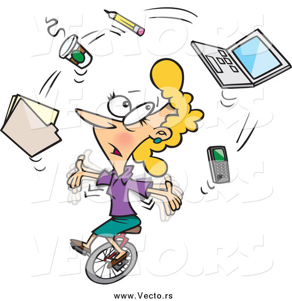 Vector of a Cartoon Busy Businesswoman Juggling Office Items on a Unicycle
