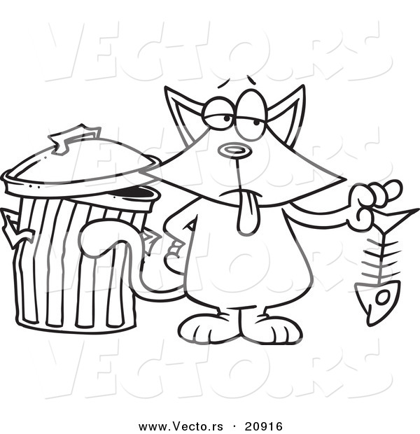 Vector Of A Cartoon Cat Holding Fish Bone Coloring Page Outline Toonaday