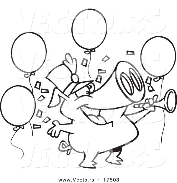 Vector of a Cartoon Celebrating New Year Pig  Coloring Page