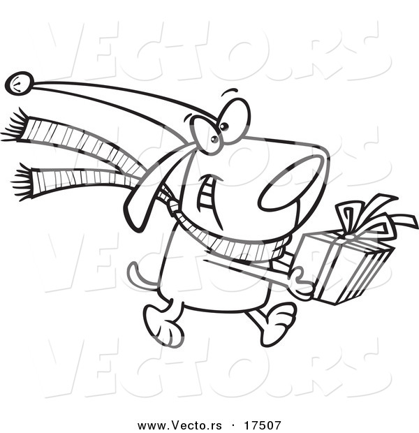 Vector of a Cartoon Christmas Dog Carrying a Present  Coloring