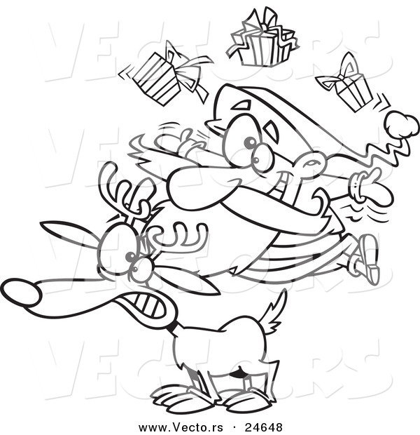 Vector of a Cartoon Christmas Santa Juggling Gifts on a Reindeer - Outlined Coloring Page
