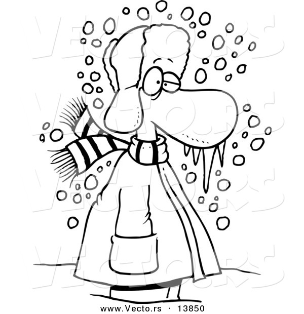 Vector Of A Cartoon Cold Winter Man Standing In The Snow With Frozen Snot
