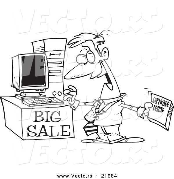 Vector of a Cartoon Computer Salesman - Outlined Coloring Page by ...