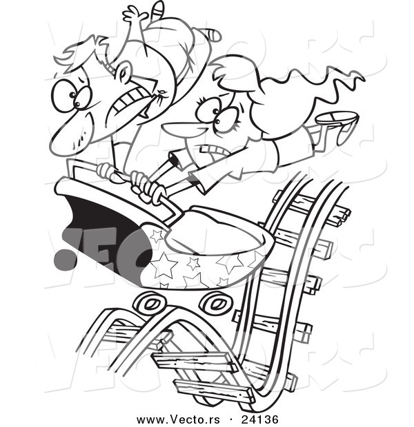 Vector of a Cartoon Couple Hitting Ups and Downs on a Roller ...
