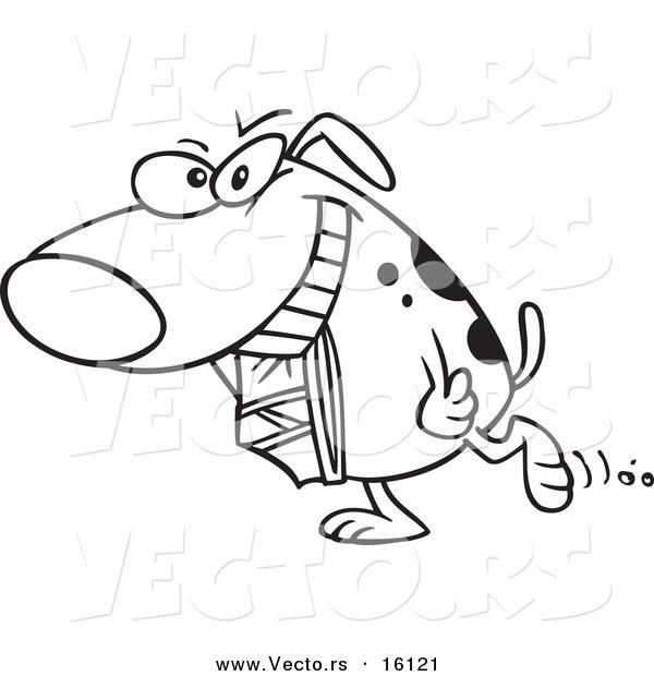 Vector Of A Cartoon Dog Carrying Underwear