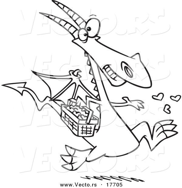 Vector Of A Cartoon Dragon Spreading Love