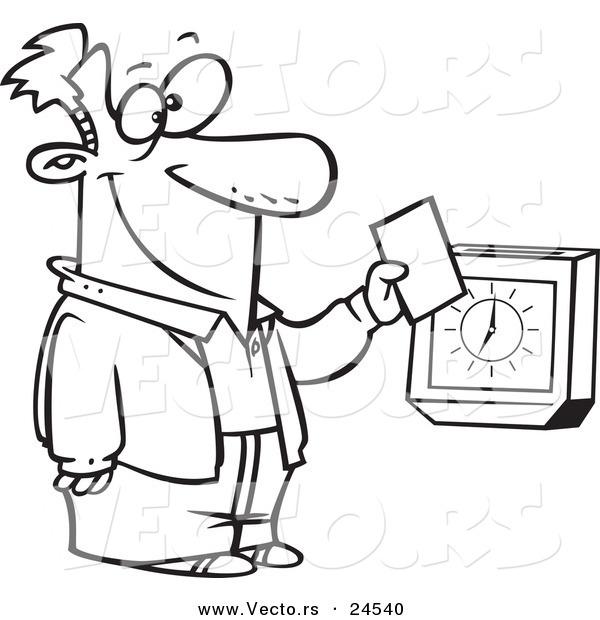 Vector Of A Cartoon Employee Punching The Clock