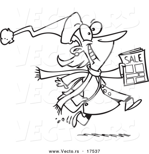 Vector of a Cartoon Excited Black Friday Shopper Running with a Sale Ad - Coloring Page Outline