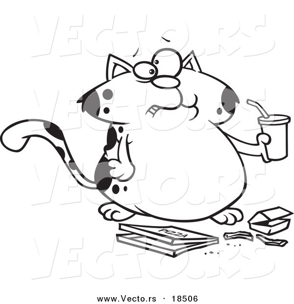 Vector Of A Cartoon Fat Cat Sipping Soda And Eating Fast Food