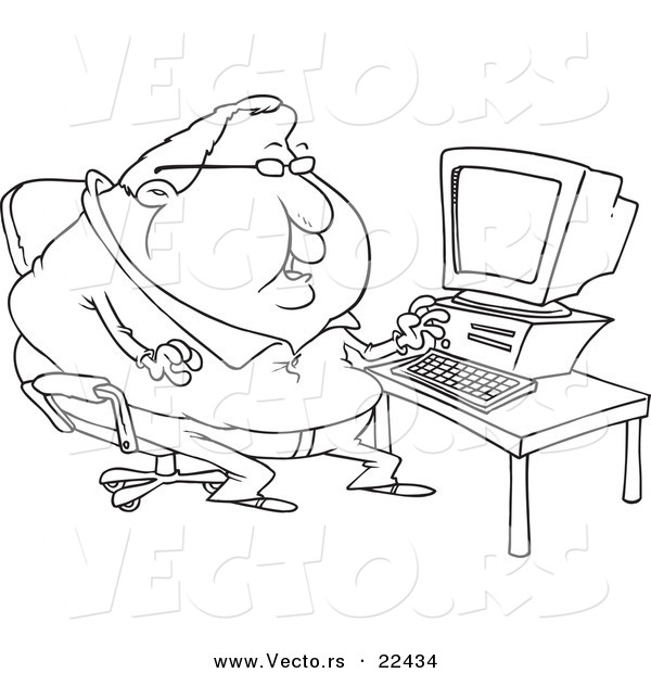 Vector Of A Cartoon Fat Computer Potato Man