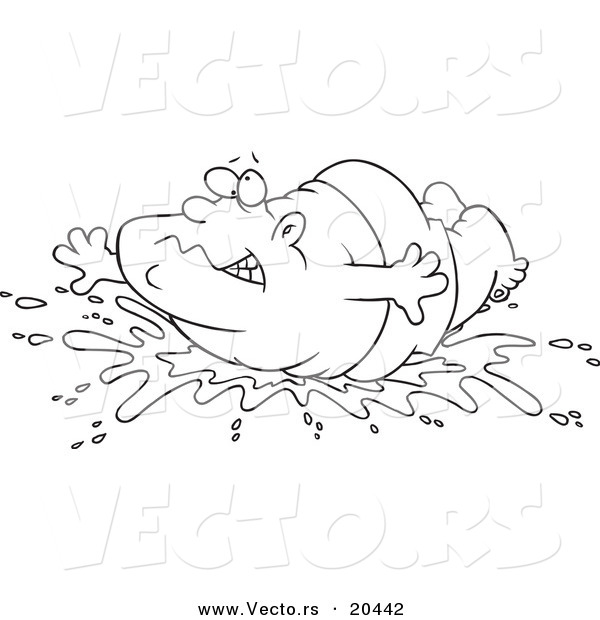 Vector of a Cartoon Fat Man Doing a Belly Flop - Coloring Page Outline