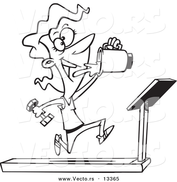 Vector Of A Cartoon Fit Woman Running On Treadmill And Drinking Juice From