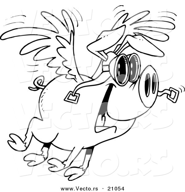 vector of a cartoon flying pig coloring page outline