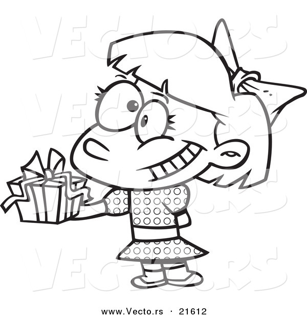 Of A Cartoon Girl Holding Gift At Party Outlined Coloring Page
