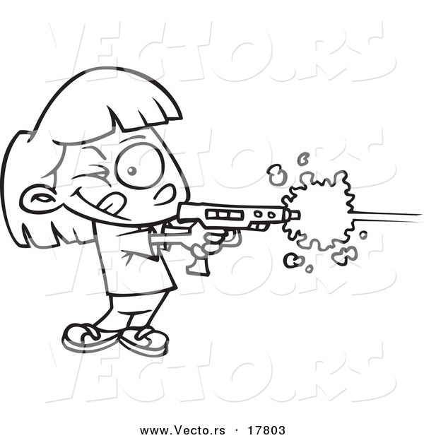 Vector of a Cartoon Girl Playing Laser Tag - Outlined Coloring Page by ...