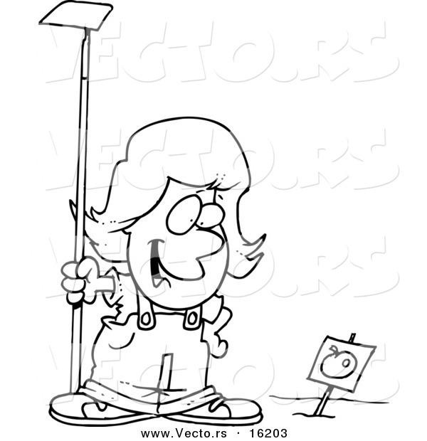 Vector Of A Cartoon Girl Standing In Tomato Garden