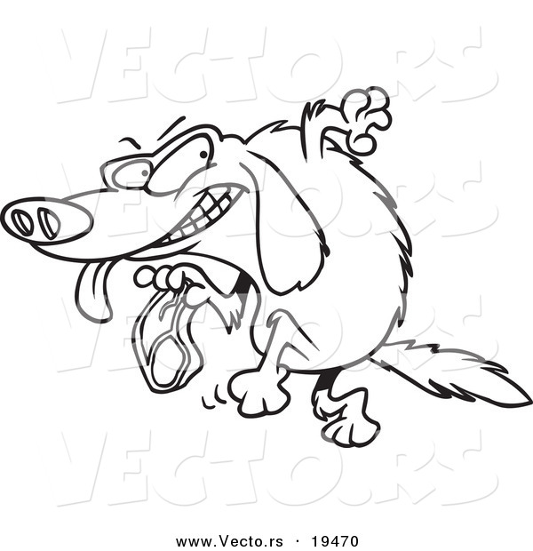 vector of a cartoon golden retriever stealing a steak outlined coloring page