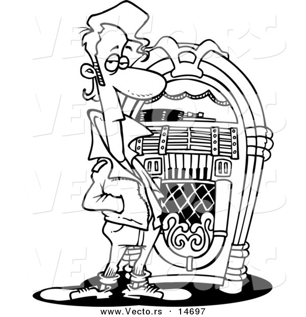 Line Art Jukebox : Vector of a cartoon greaser by juke box coloring page