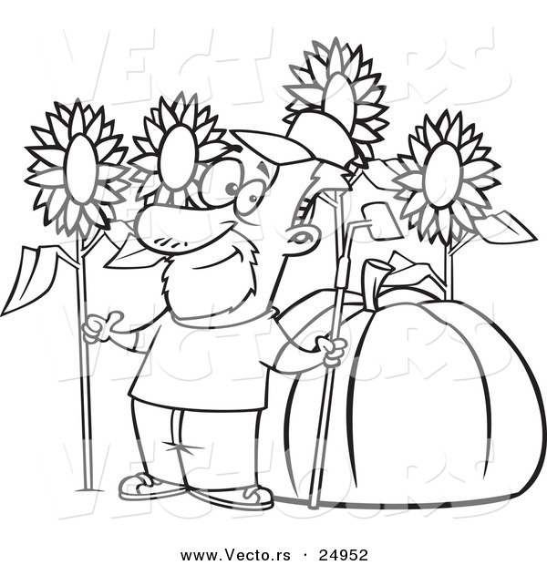 vector of a cartoon green thumb farmer with sunflowers and a giant pumpkin outlined coloring
