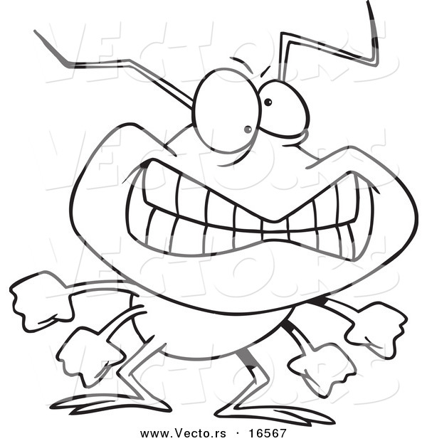Vector Of A Cartoon Grinning Bad Bug
