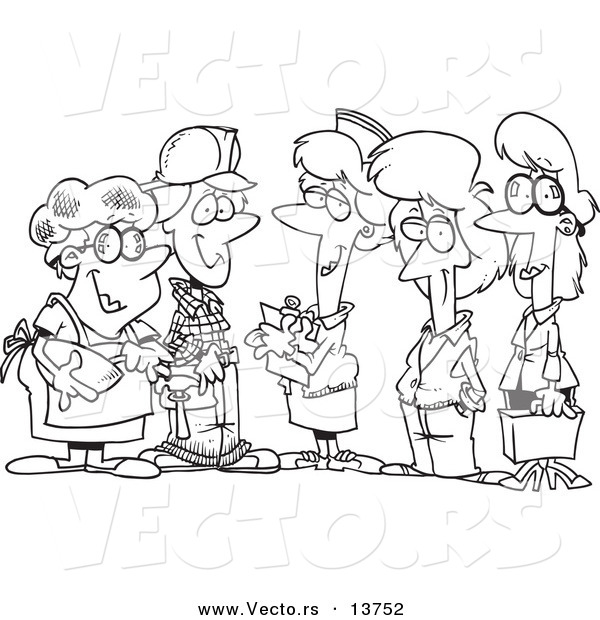 vector of a cartoon group of ladies from different occupations coloring page outline