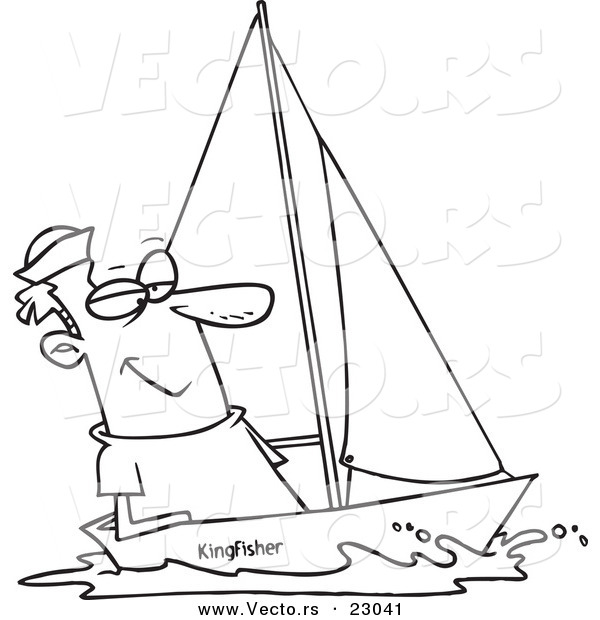 Vector of a Cartoon Guy Sailing - Coloring Page Outline