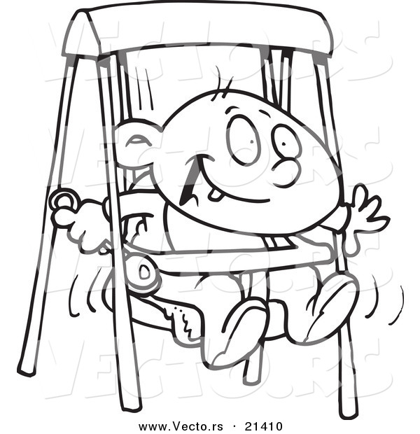 vector of a cartoon happy baby boy in a swing outlined coloring page